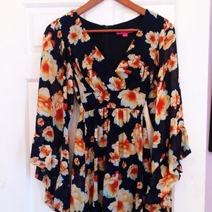 Betsey Johnson Floral Bell Sleeve Dress